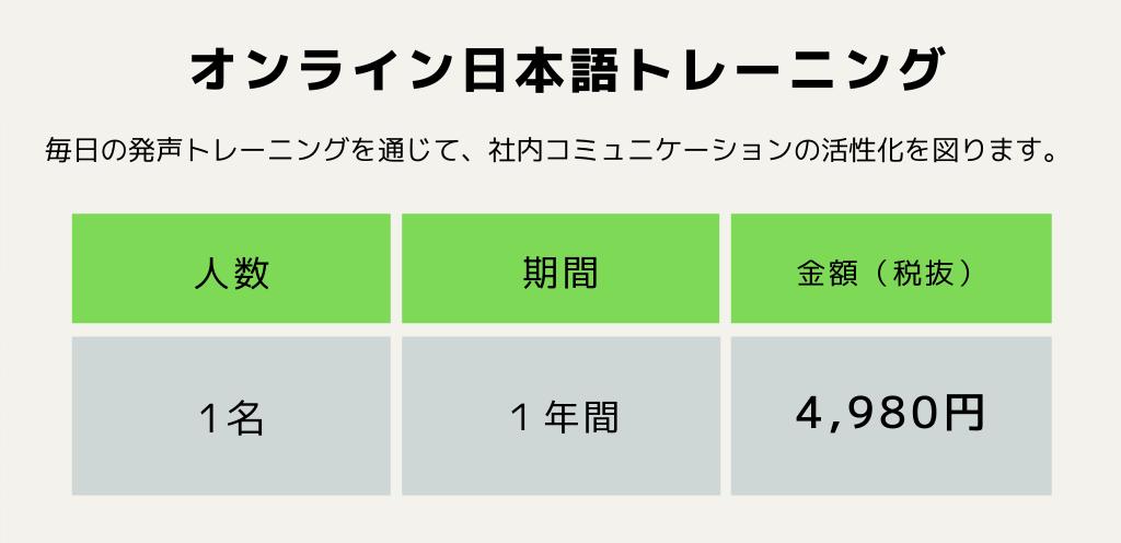 オンライン日本語トレーニング1名1年間4980円